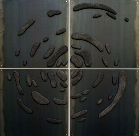 Terre cuite émaillée sur plaque d'acier - Hauteur : 205 cm - Largeur : 205 cm - Collection Privée (France)