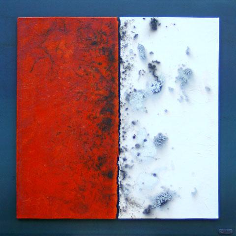 Terre cuite enfumée et oxydée sur plaque d'acier - Hauteur : 62,5cm - Largeur : 62,5cm - Disponible à la vente