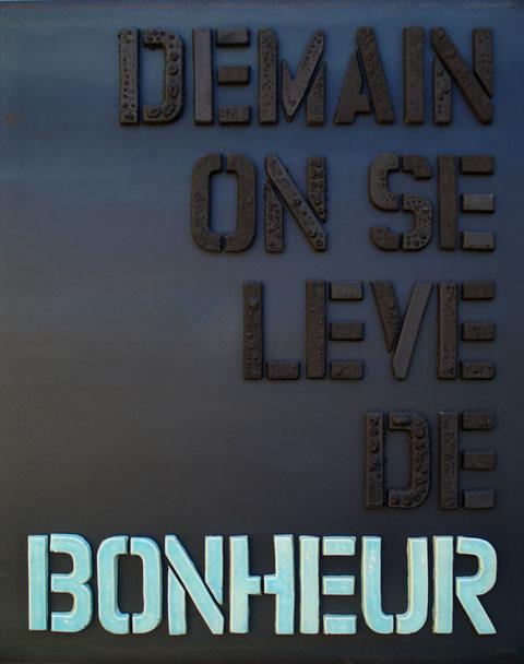 Terre cuite émaillée sur plaque d'acier - Hauteur : 100cm - Largeur : 80cm - Collection Privée (France)
