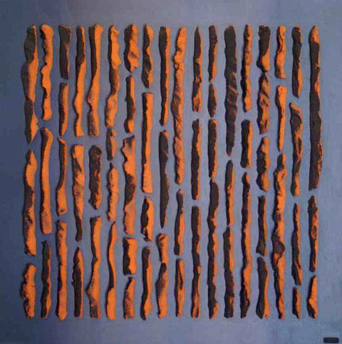 Terre cuite émaillée sur plaque d'acier - Hauteur : 80cm - Largeur : 80cm - Collection Privée (Belgique)