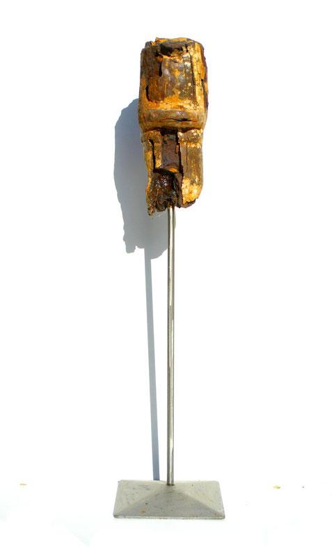 Acier oxydé soclé sur tige d'acier - Hauteur : 52cm - Collection de l'artiste