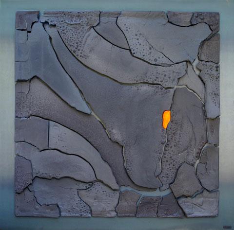 Terre cuite émaillée sur plaque d'acier - Largeur : 100cm - Hauteur : 100cm - Disponible à la vente