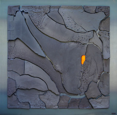 Terre cuite émaillée sur plaque d'acier - Largeur : 100cm - Hauteur : 100cm - Collection Privée (France)