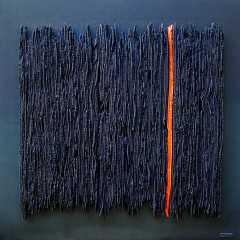 Terre cuite émaillée sur plaque d'acier - Hauteur : 62,5cm - Largeur : 62,5cm - Collection Privée (Suisse)
