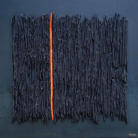 Terre cuite émaillée sur plaque d'acier - Hauteur : 62,5cm - Largeur : 62,5cm - Collection Privée (Irlande)