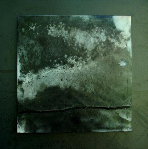 Terre cuite enfumée sur plaque d'acier - Hauteur : 27cm - Largeur : 27cm - Collection de l'artiste