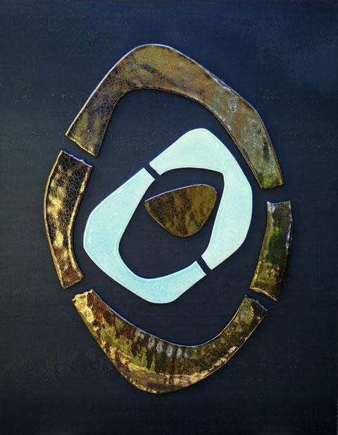 Terre cuite émaillée sur palque d'acier - Hauteur : 80cm - Largeur : 70cm - Disponible à la vente