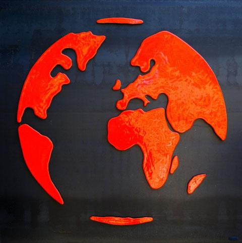 Terre cuite émaillée sur plaque d'acier - Hauteur : 100cm - Largeur : 100cm - Collection Privée