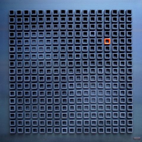 Terre cuite émaillée sur plaque d'acier - Hauteur : 80cm - Largeur : 80cm - Collection Privée (France)