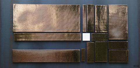 Terre cuite émaillée sur plaque d'acier - Largeur : 100cm - Hauteur : 50cm - Collection Privée (France)