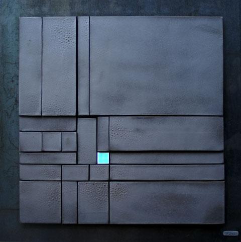 Terre cuite émaillée sur plaque d'acier - Hauteur : 62,5cm - Largeur : 62,5cm - Collection Privée (Belgique)