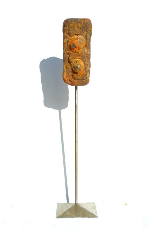 Acier oxydé soclé sur tige d'acier - Hauteur : 48cm - Collection de l'artiste