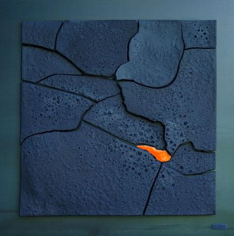 Terre cuite émaillée sur plaque d'acier - Largeur : 62,5cm - Hauteur : 62,5cm - Collection Privée (Florida, USA)
