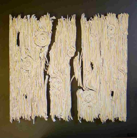 Terre cuite émaillée sur plaque d'acier - Hauteur : 62,5cm - Largeur : 62,5cm - Collection Privée (Suède)