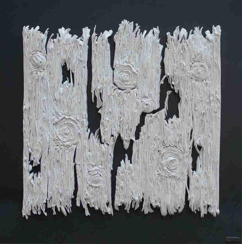 Terre cuite émaillée sur plaque d'acier - Hauteur : 62,5cm - Largeur : 62,5cm - Disponible à la vente