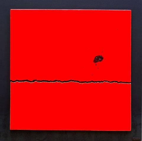 Terre cuite émaillée sur plaque d'acier - Largeur : 62,5cm - Hauteur : 62,5cm - Disponible à la vente