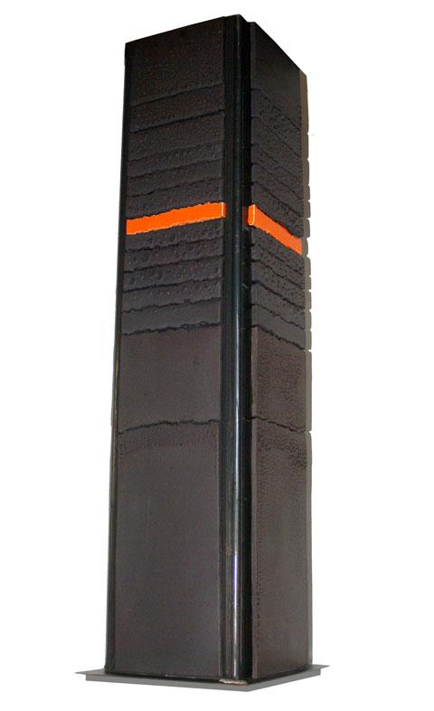 Terre cuite émaillée sur plaque d'acier - Hauteur : 90cm - Largeur : 25cm - Profondeur : 25cm - Collection Privée (France)