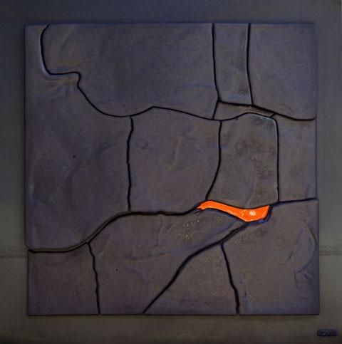 Terre cuite émaillée sur plaque d'acier - Hauteur : 62,5cm - Largeur : 62,5cm - Collection Privée (Allemagne)