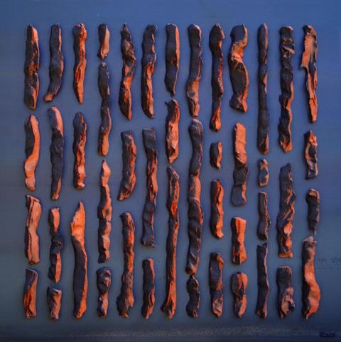 Terre cuite émaillée sur plaque d'acier - Hauteur : 80cm - Largeur : 80cm - Disponible à la vente