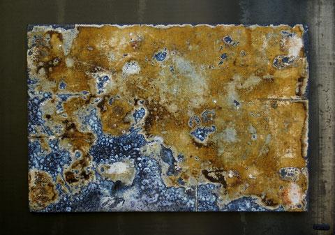 Terre cuite réfractaire, cuisson au bois en four Anagama - Réalisée au Japon - Hauteur : 52cm - Largeur : 74cm - Disponible à la vente