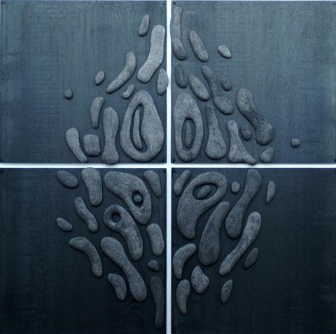 Terre cuite émaillée sur plaque d'acier - Largeur : 205cm - Hauteur : 205cm - Collection Particulière (France)