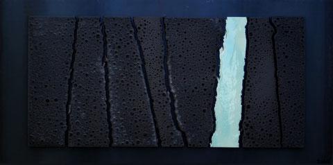 Terre cuite émaillée sur plaque d'acier - Hauteur : 50cm - Largeur : 100cm - Collection Privée (France)