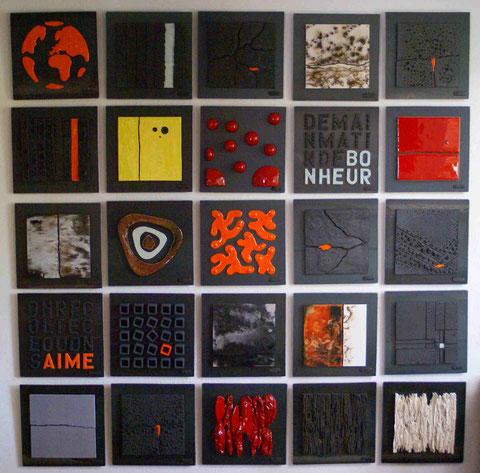 Exemple de composition en 5x5 - Terre cuite émaillée sur plaque d'acier - Hauteur : 27cm (chacune) - Largeur : 27cm (chacune) - Prix : 400€ pièce