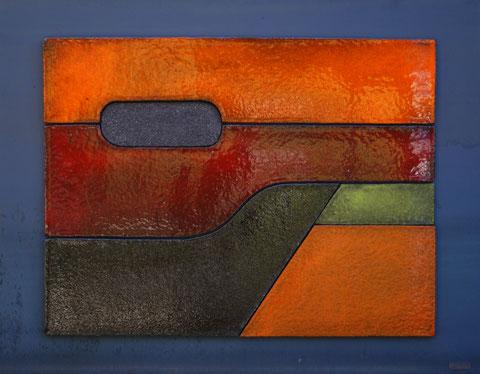 Terre cuite émaillée sur plaque d'acier - Hauteur : 60cm - Largeur : 80cm - Collection Privée (France)
