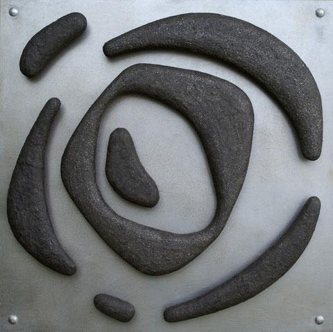Terre cuite émaillée sur plaque d'acier - Hauteur : 50cm - Largeur : 50cm - Collection Privée (U.S.A.)