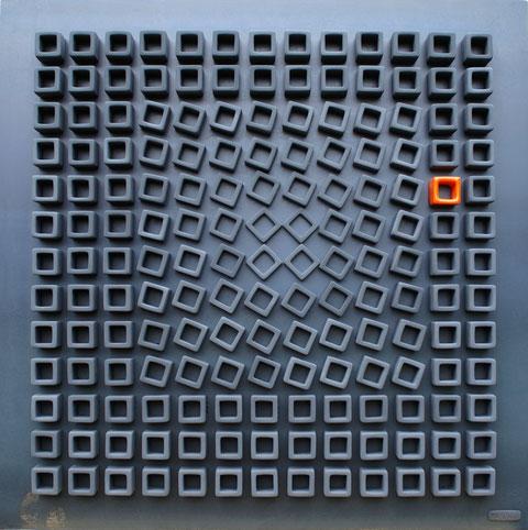 Terre cuite engobée et émaillée sur plaque d'acier - Largeur : 62,5cm - Hauteur : 62,5cm - Collection Privée (France)