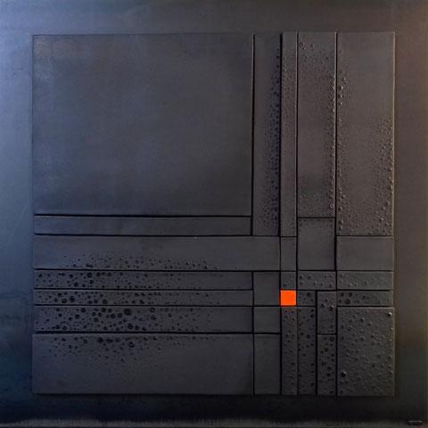 Terre cuite émaillée sur plaque d'acier - Hauteur : 110cm - Largeur : 110cm - Collection Privée (France)