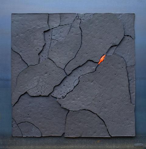 Terre cuite émaillée sur plaque d'acier - Largeur : 62,5cm - Hauteur : 62,5cm - Collection Privée (France)