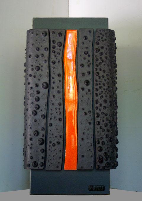 Terre cuite émaillée sur plaque d'acier - Hauteur : 40cm - Largeur : 40cm - Profondeur : 40cm - Collection Privée (Belgique)