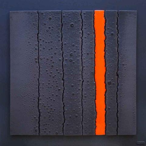 Terre cuite émaillée sur plaque d'acier - Largeur : 62cm - Hauteur : 62cm - Disponible à la vente