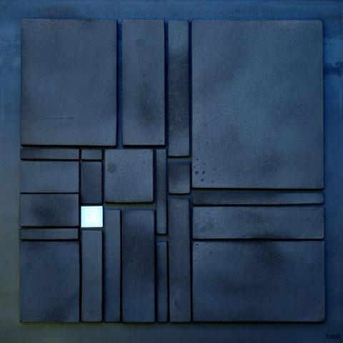Terre cuite émaillée sur plaque d'acier - Hauteur : 63cm - Largeur : 63cm - Collection Privée (France)
