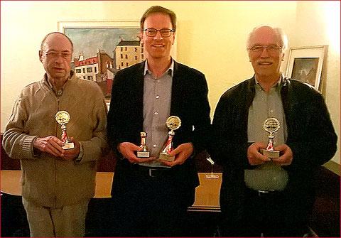Schachmeister beider Rheinfelden 2017 - Hans 2. Rang, Thomas 1. Rang , Bernhard 3. Rang