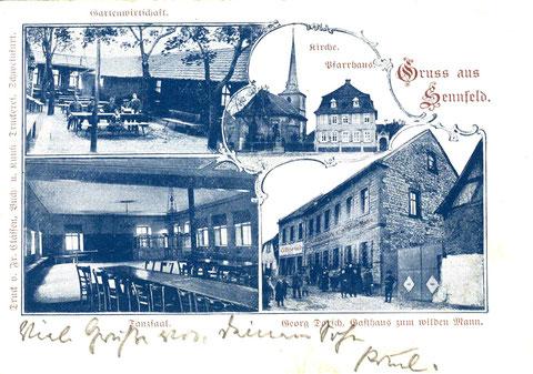 Gasthaus zum Wilden Mann (Inh. Georg Dorsch). Ehemals Restaurant und Gartenwirtschaft G. Röhner. Aufnahme um 1912