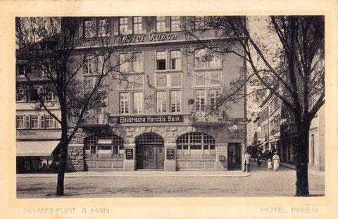 Hotel Zum Raben um 1917 mit Blick in die Kesslergasse