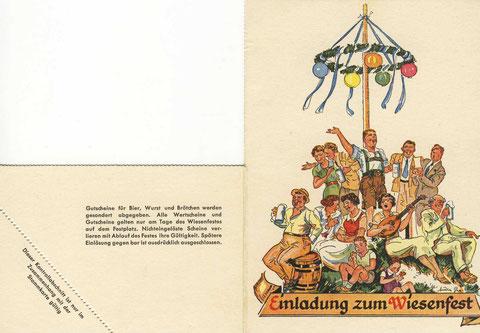 Einladung zum ersten SKF Wiesenfest nach dem 2. Weltkrieg 1950. Vorder- u. Rückseite. © SKF Group