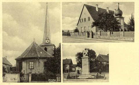 Links die schöne alte Kirche vor der Zerstörung am 31. 03. 1944. Rechts oben der ev. Kindergarten mit Zwiebelturm. Unten das Kriegerdenkmal 1914-18.