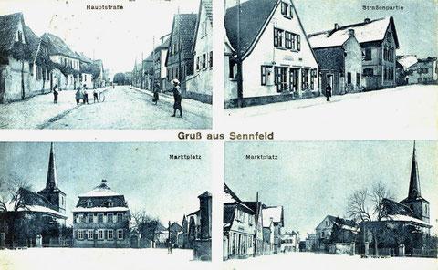 Ein Wintergruß aus Sennfeld um 1908. Bei den beiden unteren Bildern handelt es sich nicht um den Marktplatz sondern um den Plan. Oben rechts Handlung J. G. Pfister