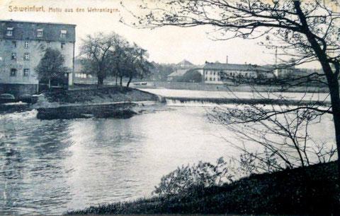 """1922 - Blick auf den Main in den Wehranlagen mit """"Elefantenbuckel"""""""