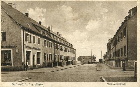 ca. 1937 - links am Eck Gemischtwarenladen Therese Ammersbach, Pestalozzistraße 14