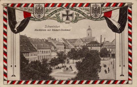 Patriotische Ansichtskarte des Marktplatzes im Ersten Weltkrieg