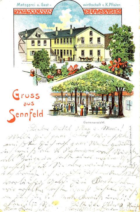 Metzgerei und Gastwirtschaft Kaspar Pfister 1905, Gasthaus Krone genannt. Der Originalbau wurde im 2. WK zersört. Nach dem Krieg wurde das Gasthaus neu gebaut. Heute heißt das  Restaurant  Akropolis Zur Krone