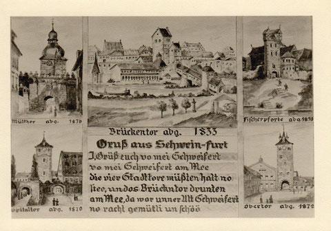 Grußkarte mit Schweinfurter Toren