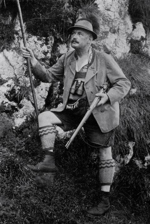 Ernst Sachs auf der jagd in der Rechenau