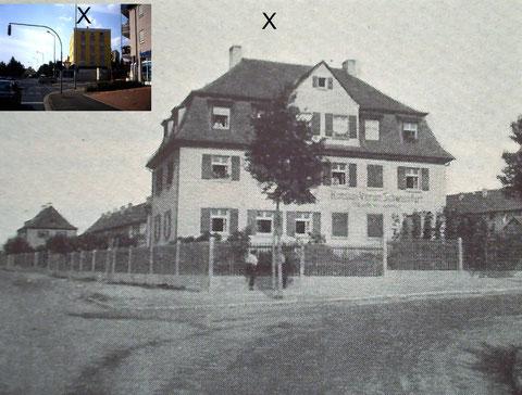 1927 - Laden des Konsumvereins - Gartenstadtstr. 1 (links oben - Einblendung der heutigen Bebauung)