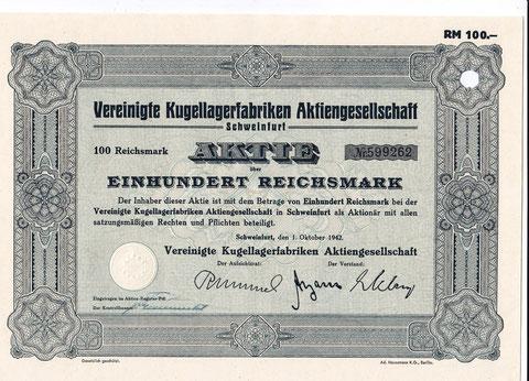 Vereinigte Kugellagerfabriken Aktiengesellschaft Schweinfurt, 01. Oktober 1942 über 100 Reichsmark
