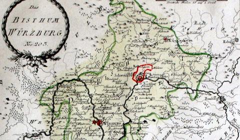 Schweinfurt ist immer noch ein (hier roter) Stachel im Bistum Würuburg (Karte von 1780)